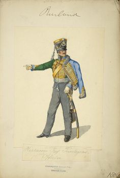 .Russian, Hussar Regiment Pavlograd, Officer,1806. Note the sky blue pelisse and facings are referred to in various references as turquoise.