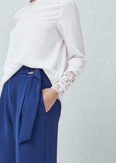 Openwork detail blouse - Woman