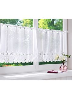 "Der Klassiker in dezenter Optik - Kurzstore ""Molly"" aus Voile-Qualität - weiß Decor, Curtains With Blinds, Living Room Decor, Drape Panel, Curtains, Half Curtains, Kitchen Window Curtains, Curtain Designs, Kitchen Curtain Designs"
