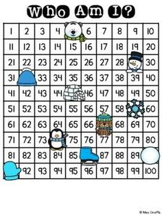 Winter Who Am I? Math Center (Missing Numbers Fun Activity!) Both 100 chart and 120 versions available for easy differentiation. Kids simply look at the cute pictures to figure out what it's covering to write it on their recording sheet. Super engaging practice that is great for independent work stations, partner and small group games, tutoring, or even to practice at home! Number Sense Activities, Reading Activities, Fun Activities, Fractions Worksheets, Multiplication Facts, Winter Words, 100 Chart, Work Stations, Learning Numbers