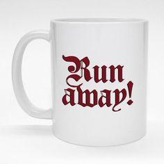 """Run Away!"" ceramic coffee mug.  Great gift for Monty Python fans.  Dishwasher and killer rabbit safe."