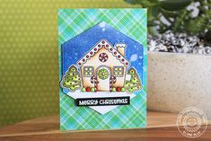 Sunny Studio Stamps: Jolly Gingerbread Interactive Opening House Christmas Card by Eloise Blue