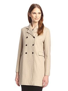 byTiMo Women's Pinstripe Trench Jacket (Crème)