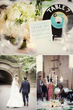 Brooklyn Wedding at The Green Building by Clean Plate Pictures 50s Wedding, New York Wedding, Our Wedding Day, Wedding Tables, Wedding Stuff, Wedding Ideas, Record Table, Clean Plates, Wedding Decorations