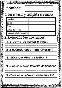SPANISH READING COMPREHENSION (FREE) NIVEL BáSICO - TeachersPayTeachers.com