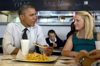 10. Sept. 21-Presidential candidates have long history of tripping over tongue;    President Barack Obama visits Emily Young, a first-time voter and student at the University of Miami, at OMG Burger on Thursday in Miami. (Carolyn Kaster, The Associated Press)