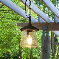 Hanging Lantern Transitional Style in Mystic Black with Bubbled Glass Porch Light