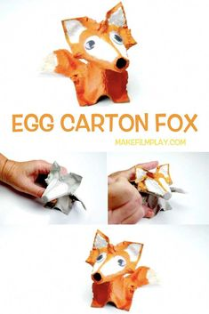Egg Carton Fox – Make Film PlayHere is a fun kids' craft project that transforms an egg carton into a sweet egg carton fox. It requires just an egg carton, paint, glue, and scissors. Watch the video to see how we made this egg carton fox. Fox Crafts, Animal Crafts, Horse Crafts, Baby Crafts, Winter Crafts For Kids, Diy Crafts For Kids, Craft Activities For Kids, Preschool Crafts, Literacy Activities