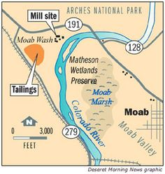 The U.S. Department of Energy has completed about one-third of a project to move 16 million tons of uranium tailings from the banks of the Colorado River, near the city of Moab, to a permanent disposal site 30 miles north, near Crescent Junction. This project is called the Moab Uranium Mill Tailings Remedial Action (UMTRA) Project.