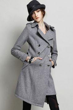 Irregular Double-breasted Wool-blend Coat OASAP.com