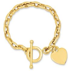 14k Yellow Gold 7in Heart Charm Bracelet ($499) ❤ liked on Polyvore featuring jewelry, bracelets, gold, 14 karat gold charm bracelet, 14k bangle, 14k charm bracelet, 14 karat gold bangles and polish jewelry