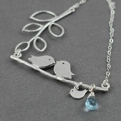 Mothers Day Gift, Baby Shower Gift, Family Necklace Birthstone, Love Birds, Mother Daughter Son Personalized Gift December Birthstone Topaz