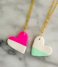 Craft It - BFF Colorblocked Heart Necklaces. gifts for friends, jewelry craft, valentine's craft