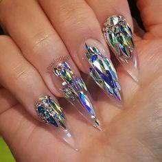 Nail Shapes - My Cool Nail Designs Swarovski Nails, Crystal Nails, Clear Nails, Rhinestone Nails, Bling Acrylic Nails, Best Acrylic Nails, Bling Nails, 3d Nails, Perfect Nails