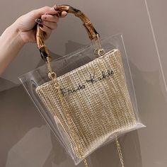 bags for women woman bag Clear Jelly Shoulder Bags Ladies Bamboo Weave Handbags Summer Handbags, Summer Bags, Clear Handbags, Tote Handbags, Transparent Bag, Handbag Patterns, Luxury Bags, Handmade Bags, Purses And Bags
