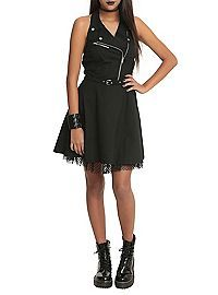 HOTTOPIC.COM - Royal Bones By Tripp Black Moto Dress
