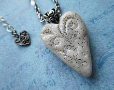 SALE Heart Bead Choker Necklace Beaded Jewelry Short Boho White Wedding Bridal Bride Bridesmaid Mother