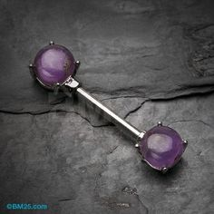 Amethyst Stone Prong Nipple Barbell Ring