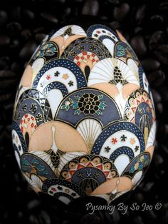 Cranes and Fans Chiyogami Japanese Yuzen Inspired Easter Egg Pysanky By So Jeo