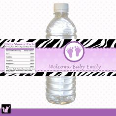 printable purple violet zebra water bottle labels wrappers feet treads baby shower girl prune