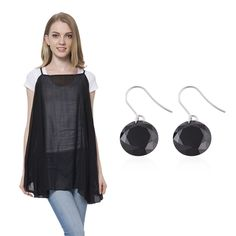 Multi-Wear Black Chiffon Halter Sling Blouse (Free Size) with Simulated White Diamond Stainless Steel Dangle Earrings TGW 35.00 cts. | stainless-steel-jewelry | promotions | online-store | Shop LC