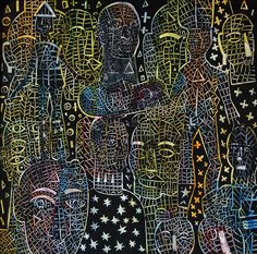 "I Wayan Gede Budayana ""Human capital"" (Manusia ibukota) Acrylic on canvas 60 x 60 cm 2017"