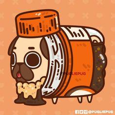 The official Puglie Pug website and store! Pug Cartoon, Cute Bunny Cartoon, Cute Kawaii Animals, Cute Animal Drawings Kawaii, Cute Drawings, Art Kawaii, Kawaii Doodles, Cute Doodles, Pug Wallpaper