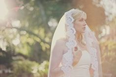 Long Wedding Veils | romantic bridal veil long wedding veils with lace | OneWed.com