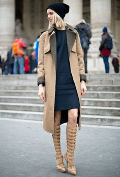 Caramel coat + navy dress...