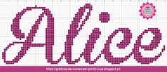 Gráficos de Nomes em Ponto Cruz: Nome Alice em Ponto Cruz