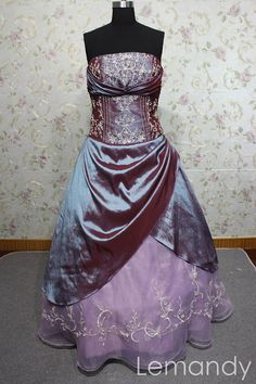 purple strapless embroidery ball gown prom dress floor length. $215.00, via Etsy.