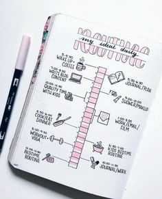 Daily routine planning | bullet journal by ig@the.petite.planner