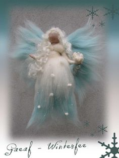 Gaeaf winter Fairy needle felted and waldorf inspried