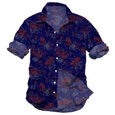 men's casual shirt, printed shirt, indigo flower printed shirt