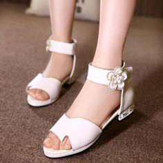 d80e6b70 Los niños de Cuero Zapatos de Vestir Princesa de Las Muchachas Sandalias de  Verano Blanco Negro