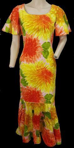 d796197c771f VTG 60s Malihini bright dahlia Hawaiian floral luau wiggle pinup aloha dress  #Malihini #Hawaiian