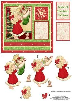 CHRISTMAS STOCKING SECRET Card Topper Decoupage on Craftsuprint designed by Janet Briggs - Christmas card topper with 3d step by step decoupage.Features cute little girl with Christmas stocking.2 sentiment plaques. One blank for your own greeting. The other reads,Special Christmas Wishes - Now available for download!