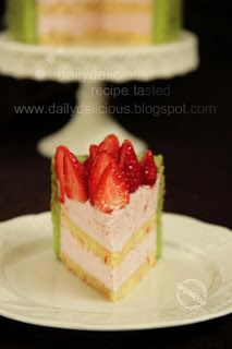 dailydelicious: Strawberry Pistachio Charlotte: My Cute and Delicious Hobby! Just Cakes, Cakes And More, Cake Cookies, Cupcake Cakes, Cupcakes, Baking Recipes, Cake Recipes, Baking Ideas, Mousse Cake