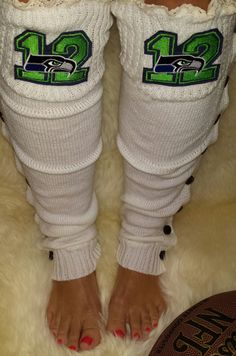Seahawks Soft Knit White Button Down Lace top Leg Warmers with 12th Man…