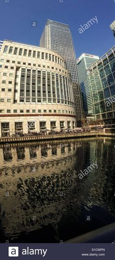 Download this stock image: Vertical Panorama of Canary Wharf and One Canada Place - s1cwfn from Alamy's library of millions of high resolution stock photos, illustrations and vectors.