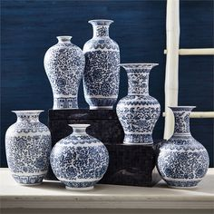 Dynasty Set of 6 Blue and White Vases - Hand-Painted Porcelain