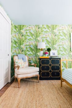Our Tropical Guest Room - Lemon Stripes Decor, Coastal Room, Leaf Wallpaper, Guest Room, Yellow Table Lamp, Banana Leaf Wallpaper, Wallpaper Roll, Home Decor, Room