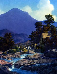 "Maxfield Parrish (American, 1870-1966). ""Thy Rocks and Rills""  1944"