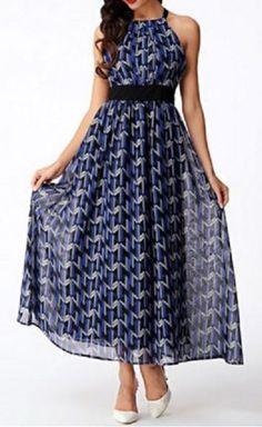 Navy Blue Bohemian Style Print Halter Sleeveless Hit Color Chiffon Dress For Women #Navy #Blue #Bohemian #Style #Party #Dress #Fashion