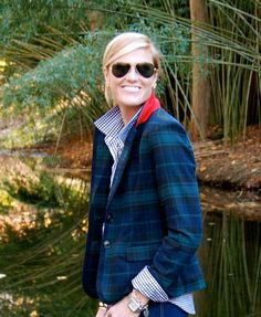 New England Classic Style   Blue and green plaid blazer
