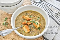 French Lentil Soup with Parsnip & Apple (vegan and nondairy)