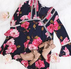 Spring is just around the corner, and what better time to pick up the perfect boho floral dress. Dress $43 https://nanamacs.com/collections/dresses/products/run-to-you-long-sleeve-floral-dress-navy Boots $46 https://nanamacs.com/collections/shoes/products/dang-gina-wrap-bow-suede-booties-natural