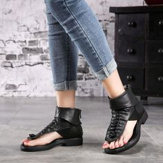 Fashion Soft Leather Low Heels Brand Women Summer Shoes Genuine Leathe– FantasyLinen Womens Summer Shoes, Sheepskin Boots, Low Heels, Leather Sandals, Soft Leather, Black And Brown, Peep Toe, Rome, Fashion