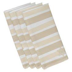 E by Design Hanukkah Star Stripes Holiday Napkin - Set of 4 Cream/Off White - N4SHN567IV4IV5
