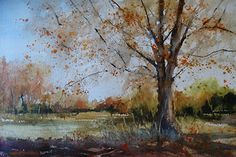 """Late October by Sandy Strohschein Watercolor ~ 15"""" x 22"""""""